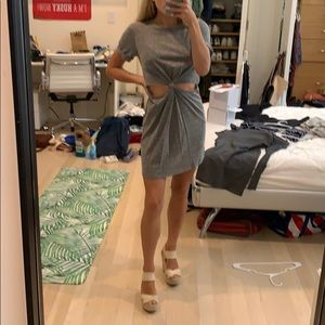 Grey cutout T-shirt dress